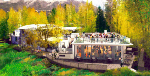 Rendering of the new pavilion and terrace at the Aspen Meadows Reception Center, Aspen Meadows Resort, Aspen, Colorado.